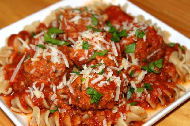 Slow Cooker Turkey Italian Meatballs over Pasta