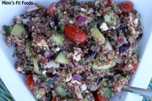 Quinoa, Cucumber, Tomato, Olives, Feta Cheese, Balsamic Vinegar, Lemon