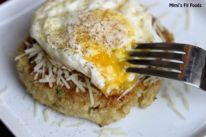 Quinoa Cakes Topped with Eggs - Mimi's Fit Foods