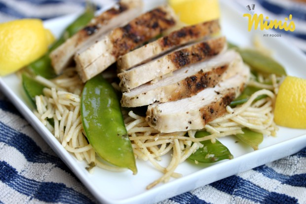 Grilled Chicken Over Lemon & Garlic Pasta-Mimi's Fit Foods