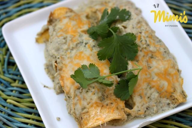 Green Chile Verde Enchiladas - Mimi's Fit Foods