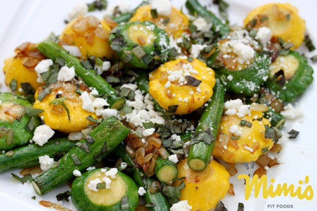 Sautéed Baby Squash with Basil and Feta - Mimi's Fit Foods