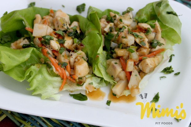 Thai Chicken Lettuce Wraps with Sweet Peanut Sauce - Mimi's Fit Foods