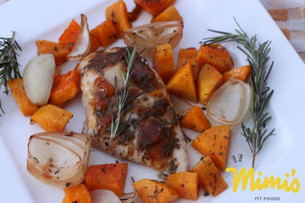 Herb Roasted Chicken with Butternut Squash - Mimi's Fit Foods