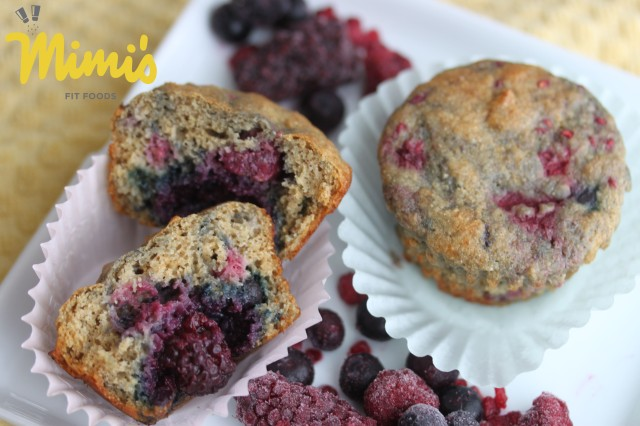 Whole Wheat Triple Berry Protein Muffins - Mimi's Fit Foods