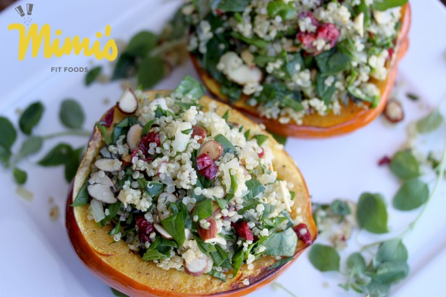 Quinoa, Cranberry and Almond Stuffed Acorn Squash - Mimi's Fit Foods