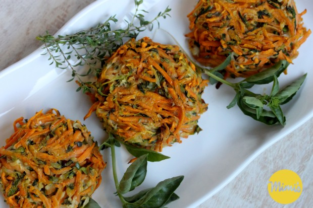 Fresh Herb Sweet Potato and Zucchini Baked Fritters